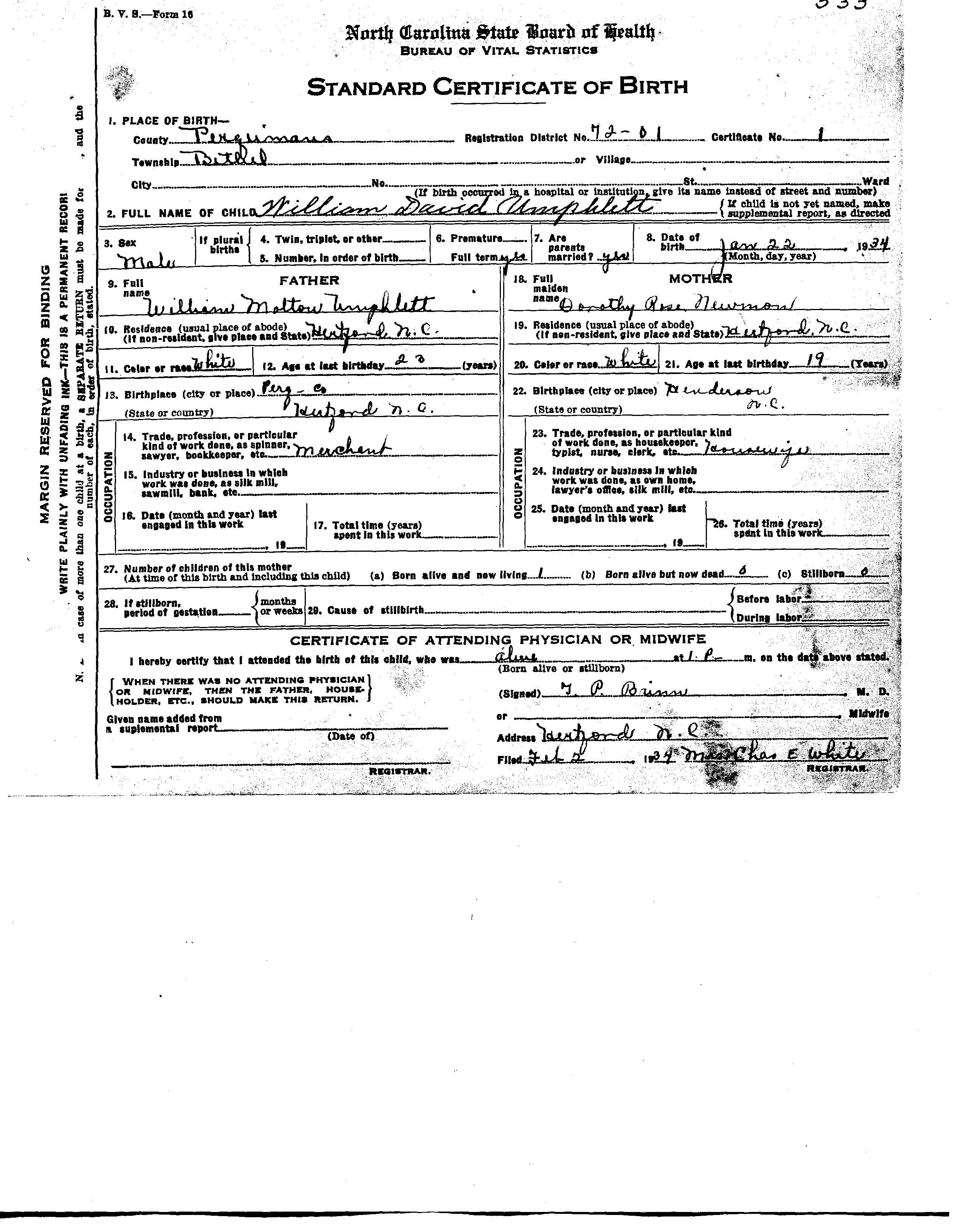 Perquimans County Birth Certificates